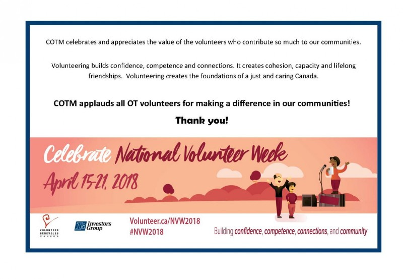 Banner reads Celebrate National Volunteer Week April 15 - 21, 2018. COTM applauds all OT volunteers for making a difference in our communities. Thank you!